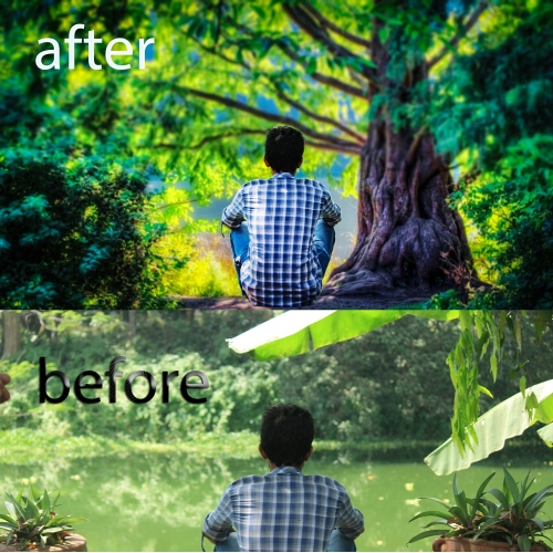 Background change and digital retouching