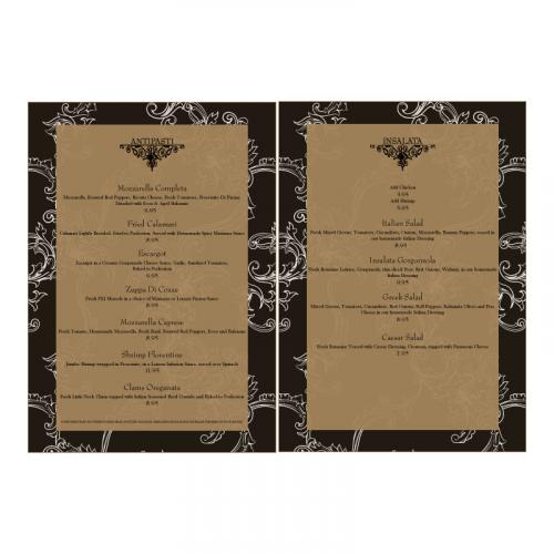 Menu design for high end restaurant